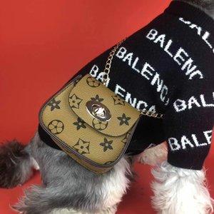 개 부속품 애완 동물 가방적인 패션 스타일의 고급스러운 디자이너 체인 가방 핸드백 휴대용커 꽃 인쇄