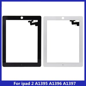 10PCS Touch Screen Glass Panel with Digitizer Buttons Adhesive for iPad 2 Black and White free ship DHL