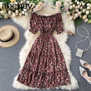 Boho Vintage 2020 ruffles floral print midi Dress sexy off shoulder Summer Party tie elegant dress Women beach holiday