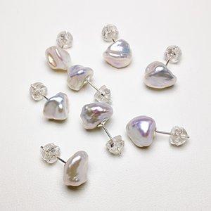 S925 Sterling Silver Pearl Brincos Pérola brincos de pérola barroca Brinco Para Mulheres aniversário presente da jóia de alto brilho 10 par / lot