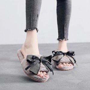 dames pantoufles fourrure Chaussures diapos mignonnes pantoufles de fourrure de papillon noeud chambre de mode pantoufles d'hiver DESIGNERS chaussures plates femmes 42