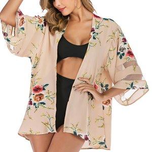 2020 femmes Imprimé Boluse Cardigan à manches 3/4 crème solaire Tops Femme Mesh Patchwork Châle Summer Beach Wear