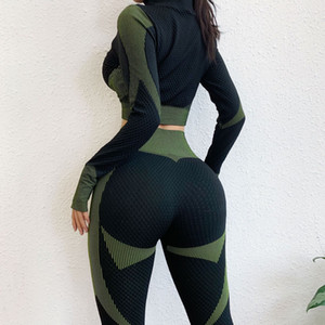 Women Long Sleeve Yoga Set Zipper Top Sport Suit Seamless Workout Clothes for Woman Workout Sportswear Gym Fitness Outfits
