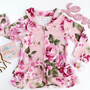 2018 İlkbahar Sonbahar Yeni ArrivalToddler Bebek Kız Çocuklar Sıcak Pamuk Coat Sonbahar Çiçek Ceket Dış Giyim 1-5Y