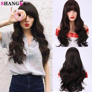 Shangke sintetico riccio lungo con la frangetta nera parrucche per donne quotidiana Cosplay color cioccolato colori Fibra termoresistente