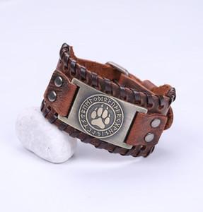 GX046 Wolf Claws Viking Armreif Nordic Runes Bärentatze Herren Breite Manschette Lederarmband Herrenarmbänder