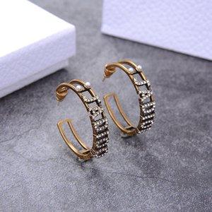 D family Di family letter pearl female temperament brass diamond earrings Earring Back