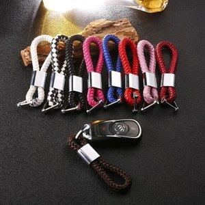 Presentes Moda creativo Horseshoe Buckle Woven Rope Couro Car Chaveiro Para mulheres dos homens dirigem Keychain Car Chaveiro Pingente