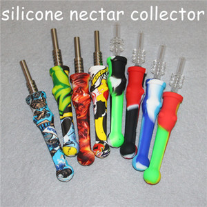 20pcs silicone Nectar nector Collector kit Concentrate smoke Pipe with 14mm GR2 Titanium Tip Dab Straw Oil Rigs DHL