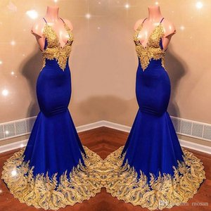 Sexy Royal Blue Long Prom Evening Dresses NEW Gorgeous Mermaid Hater Gold Lace African Black Girl Strapless Satin Prom Dress