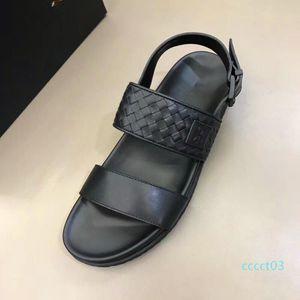 Brand Designer Handmade Weave Mens Summer Sandals 100% Real Leather Flats Sandals Beach Slippers Casual Comfort Platform Shoes ct3
