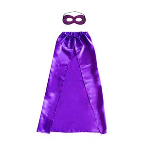 90 * 70 cm Color liso Superhero Cosplay Capes + máscara de una capa con cordones para niños de 10-15 años 10 colores disfraces de superhéroes Niño de Halloween