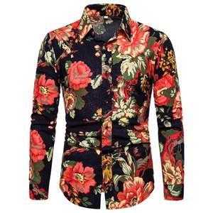Çiçek Baskı Erkek Tasarımcı Gömlek Moda Uzun Kollu Tek Breasted Erkek Gömlek Casual Yaka Boyun Erkekler Giyim