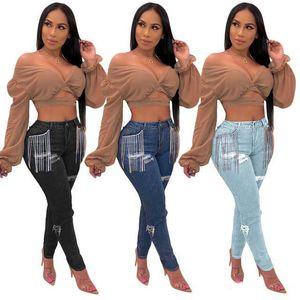 Women Denim Pants Retro Ripped Hole Jeans Pockets Tassel Spliced Pencil Trousers Skinny Casual Pant Autumn High Street Wear