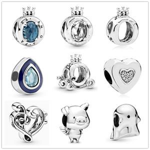 en yeni ücretsiz kargo MOQ20pcs avrupa gümüş beyaz mavi taç su damlası pippo kalp diy boncuk Fit Pandora Charm Bilezik D069