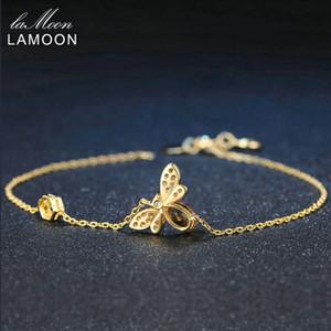 Lamoon lindo amor abeja 925 Mujer pulsera de plata citrino piedras preciosas joyería 14K chapado en oro diseñador de la joyería LMHI002 CX200702