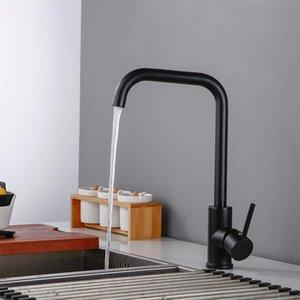 Smesiteli Kitchen Faucets Matte Black Brass 360 Degree Single Handle Kitchen Sink Faucet Hot & Cold Water Mixer Tap T200423