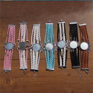 Nouvelle arrivée bricolage Sublimation Blanks Bracelet Lovers cuir Bracelets Wrap personnalité Bracelet tissé style personnalisé multi couleur