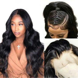 Onda del cuerpo 13x6 frente del cordón pelucas de cabello humano 250 360 Densidad de encaje frontal de la peluca Pre desplumados falso transparente del cuero cabelludo de la peluca