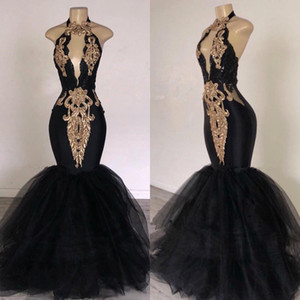 2020 Sexy Black Halter Tulle Mermaid Long Prom Dresses Keyhole Gold Lace Applique Beaded Floor Length Evening Party Dresses BC0752