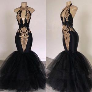 2020 Sexy Preto Halter Tulle Mermaid Longo Prom Vestidos Keyhole Gold Lace Applique frisada Pavimento Length Evening Partido Vestidos BC0752