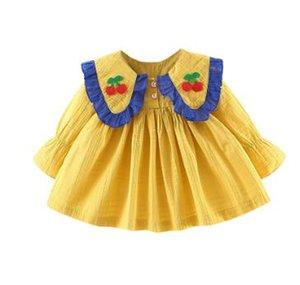 Bebek Kız Giysileri Toddler Çocuk Elbise Sonbahar Sevimli Kız Kiraz Sarı Pembe Alt Uzun Kollu Prenses Elbise