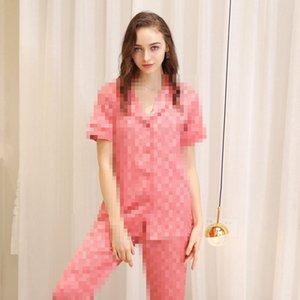 فاخر كاملة G نمط إمرأة البيجامة الربيع والخريف الحرير النساء ملابس بنات صيف رقيقة قميص مجموعات الصفحة الرئيسية ملابس