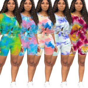 2020 Hot Sale Tie-dye Printed Women Bike Shorts Sets Summer Casual Tracksuits Two-piece Bow Short Sleeves T Shirt and Shorts High Quality