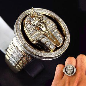 بارد ذكر 18 كيلو الذهب لهجة الأسود المينا خاتم الماس الملك المصري توت عنخ آمون الدائري رجال عرس حزب مجوهرات الحجم 7-13