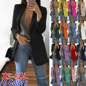 Women Business Wear Lapel Neck Suit Ladies Pure Color Slim Cardigan Temperament Suit Jacket Long Sleeve Coat Plus Size Clothing XS-5XL