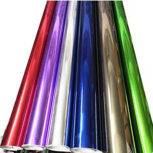 Chrome Rouge Bleu Argent Or voiture Miroir vinyle Wrap Film autocollant Electro Revêtement de carrosserie Emballage Automobiles Moto