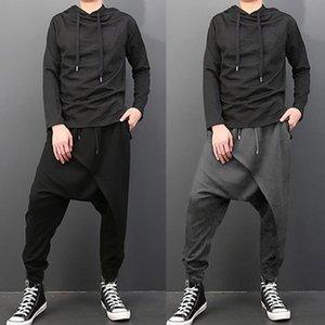 Plus Size Uomo Casual Drape cavallo basso Harem Hip-hop dei pantaloni pantaloni larghi pantaloni di ballo punk gotico di stile Harem Pantaloni Uomo