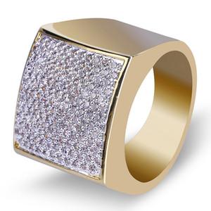 Banhado a ouro 18K Diamond Princess Praça banda anel Hip Hop para fora congelado CZ Cubic presente Jóias Declaração Zirconia Mens Anel de casamento Rapper por Homens