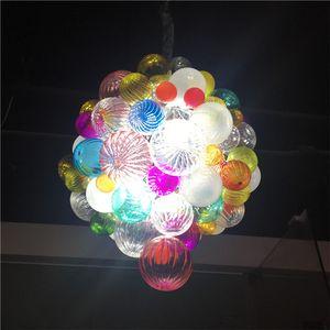 """Moderne Hand durchgebrannter Glasleuchter Blasen-Lichter LED-Kette Pendelleuchten amerikanische Lobby Hausdekoration Wohnzimmer 20"""" Deckenleuchte-L"""