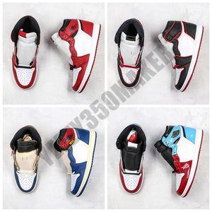 Arkalık Gölge Çok renkli Sneakers BV1300-106 Shattered 2019 Jumpman İyi Kalite 1 1s NRG Basketbol Ayakkabı Yüksek Renkli Kadife
