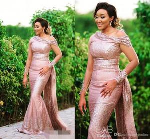 Rose Gold Mermaid Brautjungfer Kleider mit Zug 2020 Arabisch Paillettenkappenhülse Formale Hochzeit Gastkleid Robe de Demoiselle d'Honneur