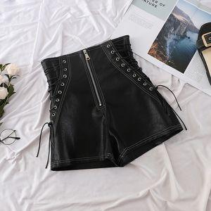 ITOOLIN vita alta Zipper Shorts Donna Primavera Autunno Moda PU pantaloncini Laides fasciatura sexy pantaloni neri vino pantaloncini corti T200602
