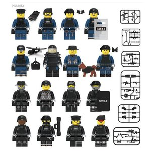 Little Sun 1632 Special Police Armed 16 Bulletproof Shield Police Dog With Weapon Small Particle Mosaic Building Block Toy