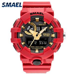 Rojo Estilo relojes de los hombres Nuevo reloj del deporte del cuarzo de la marca Smael 50Meters impermeable Relogio masculino erkek Saat hombres regalo caliente Clock1642