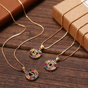 Fashion Gold Color Initial Multicolor Necklace Charm Letter Necklace Name Jewelry for Women Accessories Girlfriend Gift