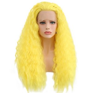 Top Quality Natural Synthetic Lace Front Wig Loose Wave 26'' Yellow Color High Quality Wig Glueless 180% Density Heat Resistant Female Wig