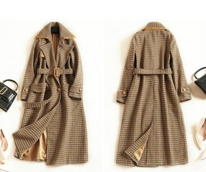 High Waist Plaid Ol Commuter Long Coat Women ' ;S European And American Fashion Windbreaker 2019 Autumn And Winter Lapel Long Sleeve