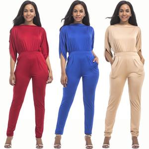 Yeni Geliş Kadın Casual Seksi Jumpsuit Mürettebat Boyun Yarım Kollu Skinny Katı Renk tulum Tulumlar P748