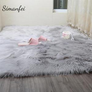 Simanfei Hairy Alfombras 2019 nueva piel de piel de oveja normal pelaje dormitorios Faux Mats lavable artificiales Tejidos área cuadrada Alfombras