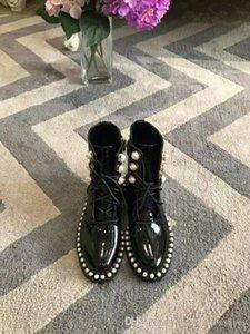 Hot Sale-Martin Bottes en cuir cheville Chaussures 2018 Fashion Runway Femme Automne brevet bottillons Femmes Gladiator lacets bottes de chevalier