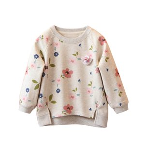 Toddler Kids Baby Girls Floral Printing Long Sleeve Warm Tops Pullover O-Neck T-Shirt Blouses small Flower Tops
