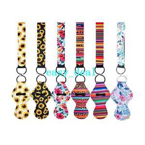 6 Stück Chapstick Halter mit 6 Stück Schlüsselanhänger Neopren-Lippenstift-Schutzhüllen Abdeckung Portable Balm Halter mit Wristlet Lanyar