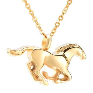IJD10072 en cours d'exécution or cheval souvenir bijoux en acier inoxydable bijoux de crémation cendres collier pendentif urne commémorative pour animal de compagnie / humaine