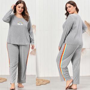 Плюс Размер Женщины Pajama наборы Радуга Stripe Серый цвет Двухкусочный Брюки Пижамы Crew Neck с длинным рукавом Главная Наборы