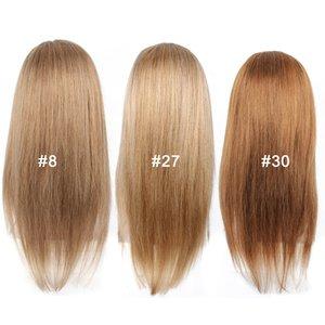 Kisshair 22 polegada linear humano frente do laço do cabelo perucas 4 * 4 laço frontal # 8 # 27 castanho cinza mel louro # 30 meio de cabelo castanho peruca